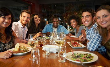 group dining in restaurant