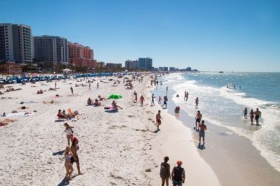 people and condos in Clearwater Beach, Florida